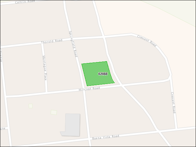 A map of the area immediately surrounding DFRP Property Number 02088