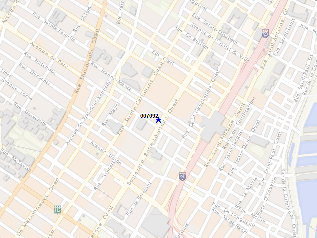 A map of the area immediately surrounding building number 007092