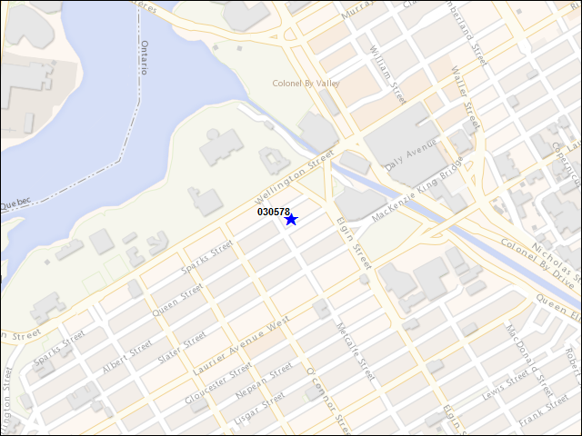 A map of the area immediately surrounding building number 030578