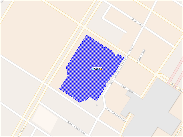 A map of the area immediately surrounding building number 073878