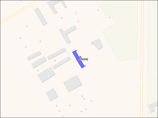A map of the area immediately surrounding building number 110242