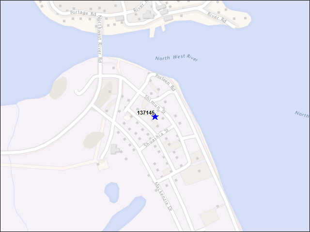 A map of the area immediately surrounding building number 137145